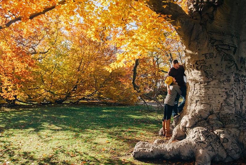 man and woman standing beside the tree with yellow leaves