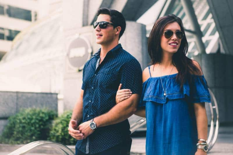 nice outfit couple walking outside