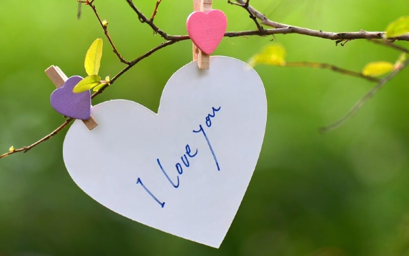 White paper heart with I love you message on it