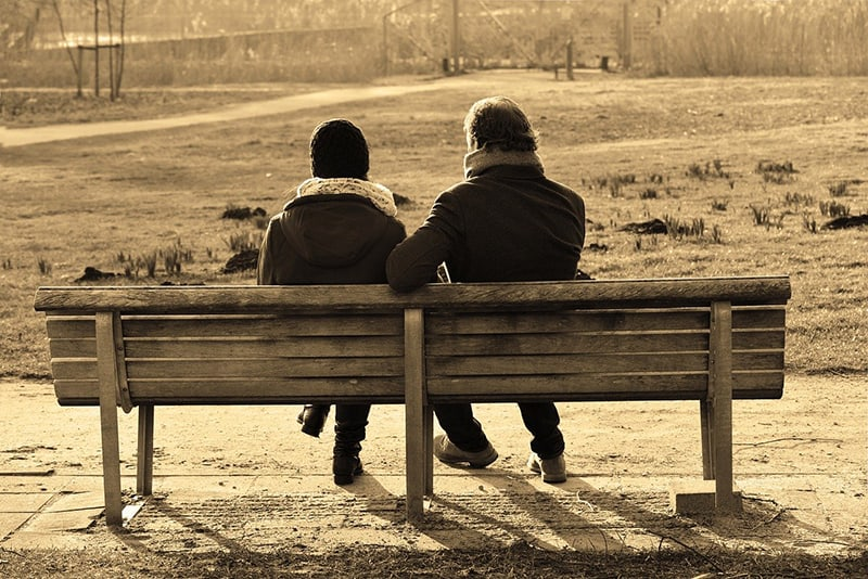 people sitting on the bench in the park