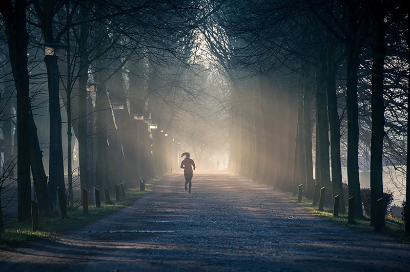 person running on the road between tall trees