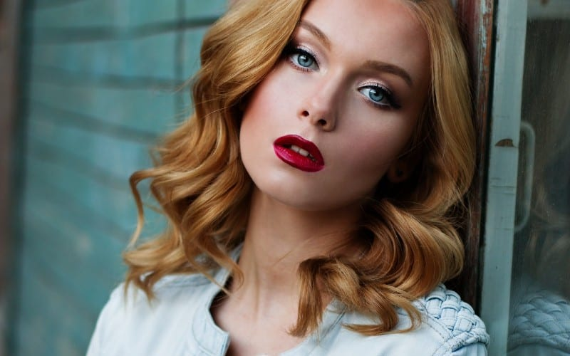 Portrait of a beautiful blonde woman with blue eyes