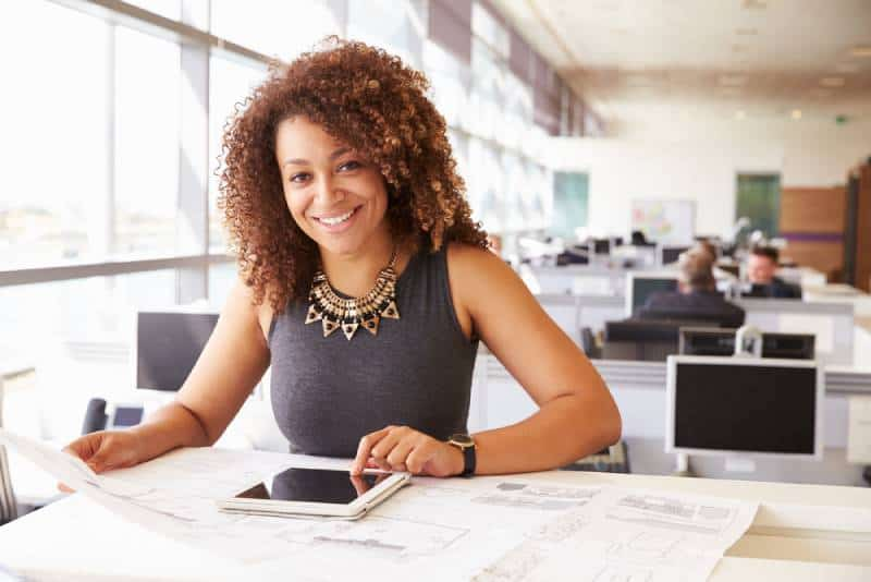 portrait of smiling woman at office