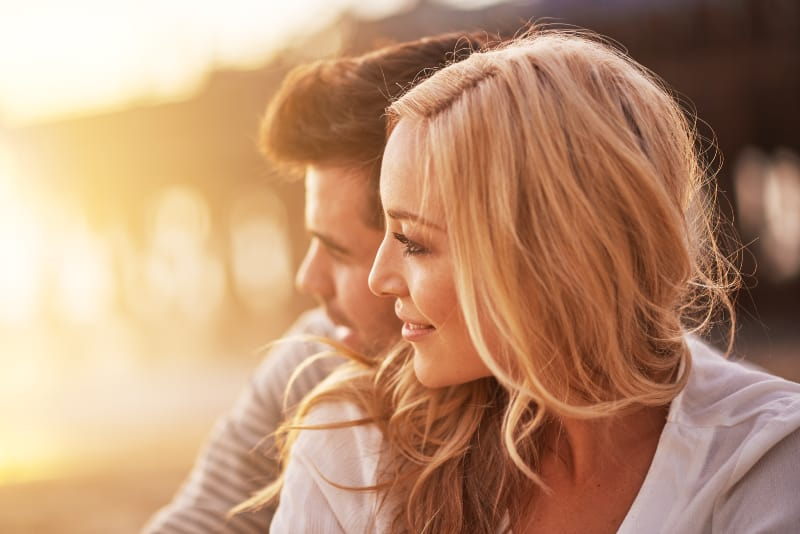 romantic couple on sunset
