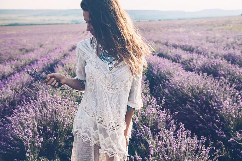 smiling girl in lavand field