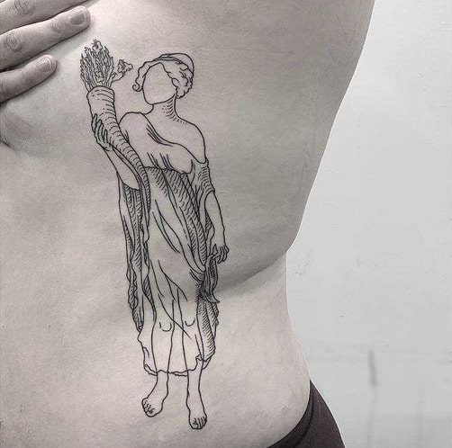 unique maiden holding some wheat tattoo on rib side