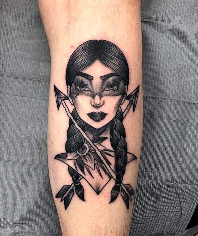 warrior girl triball tattoo with two arrows