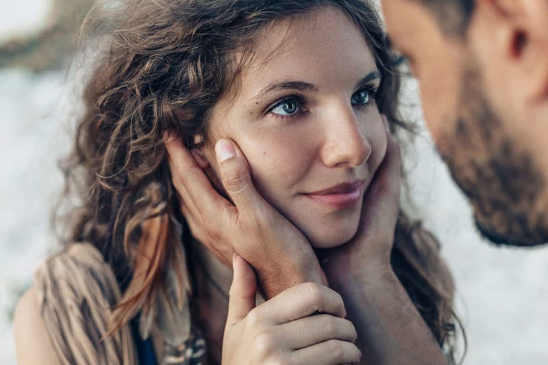 woman in love looking at man