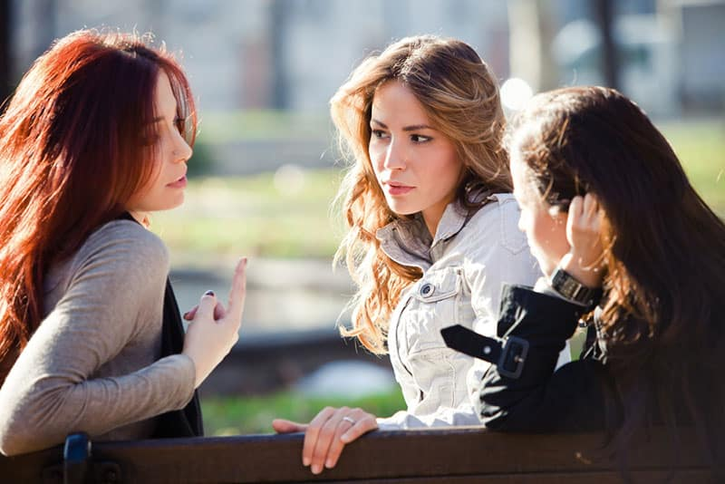 woman talking to her friends