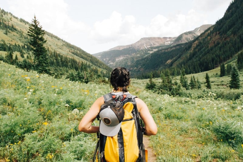woman carrying yellow and black backpack walking between green plants