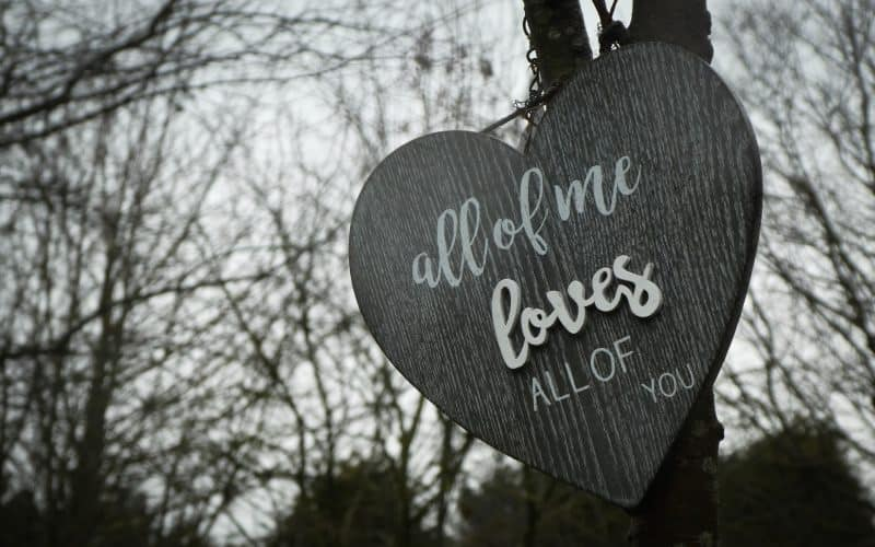 Wooden heart with all of me loves all of you emssage written on it