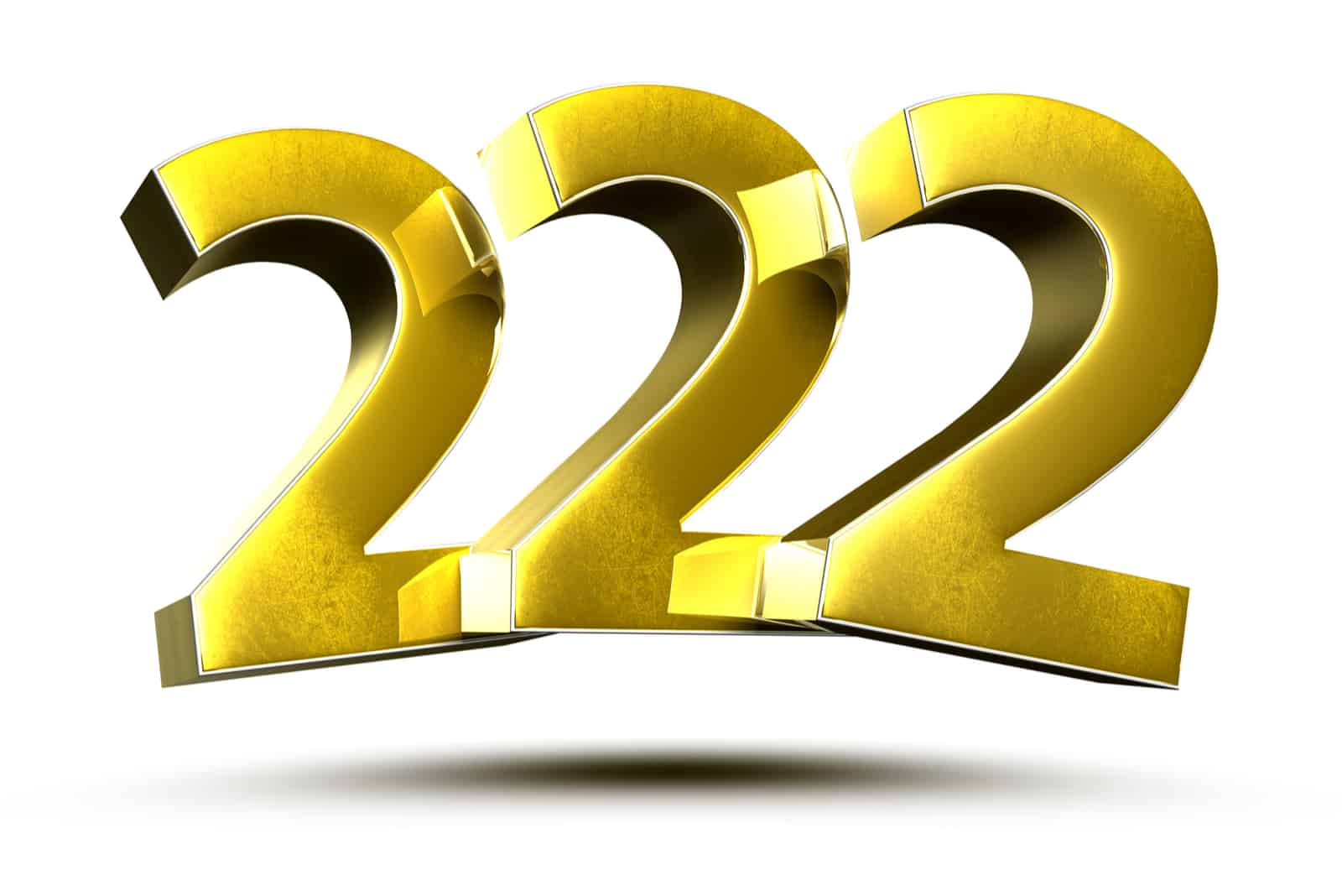 yellow numbers 222 on a white background