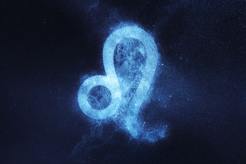 Leo Zodiac Sign on dark blue background