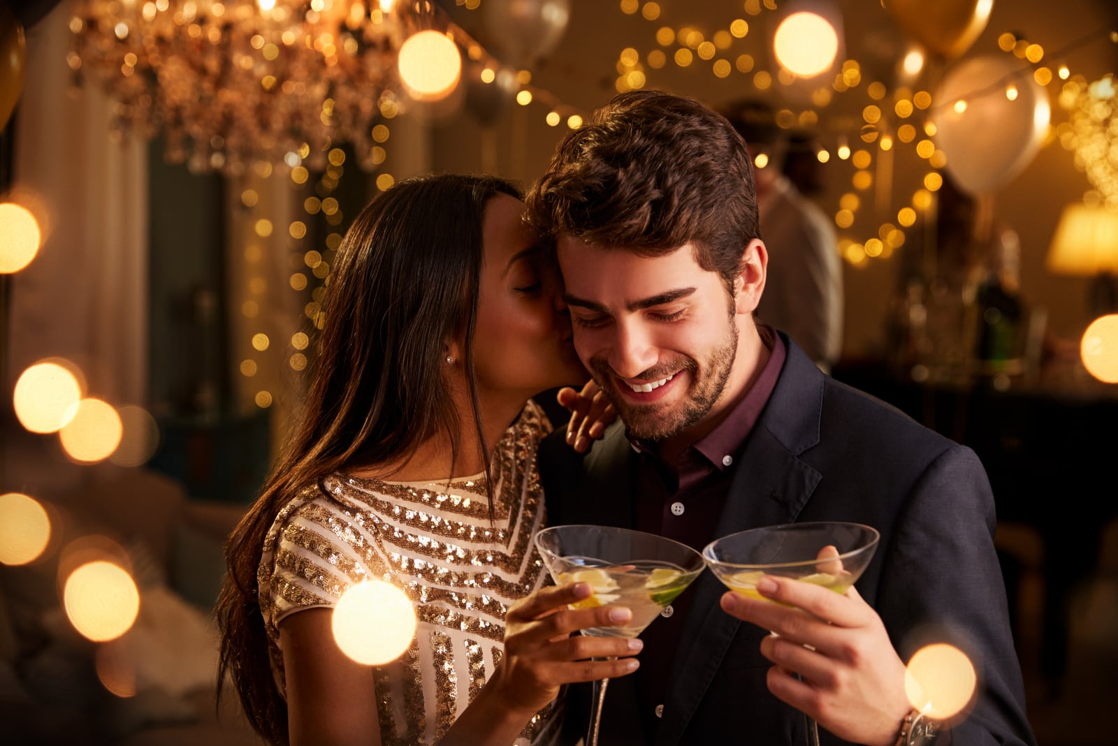 Romantic Couple Enjoying Cocktail Party Together