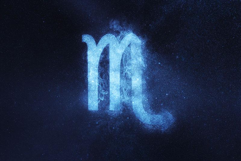 Scorpio Zodiac Sign on dark blue background