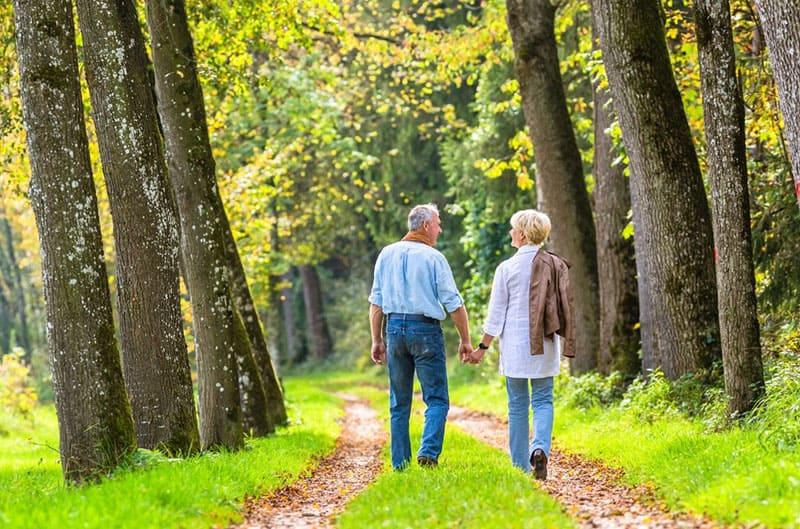 adult couple walking hand in hand in the middle of the woods