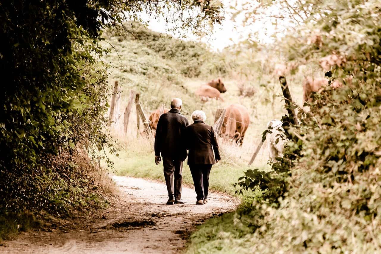 an older couple walks down the street together
