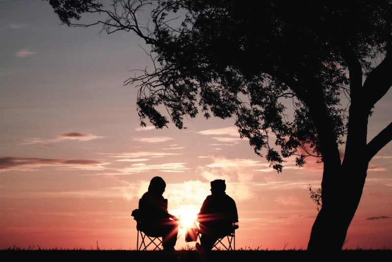 man and woman sitting on chairs near tree during sunset