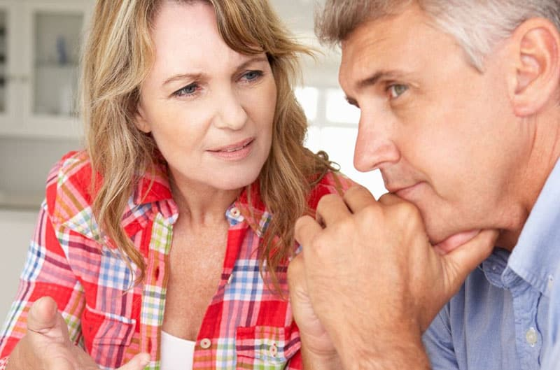 middle age couple in close up photo woman is nagging