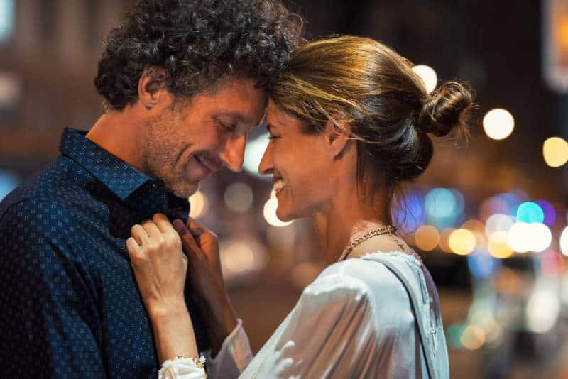 romantic man and woman in the evening