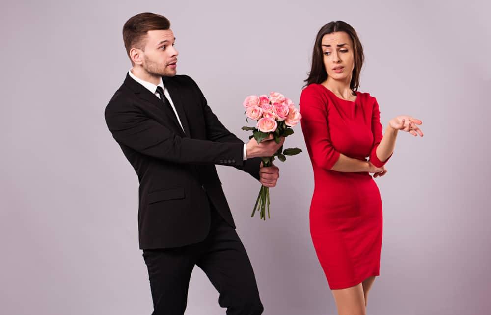 ungrateful girlfriend in red dress