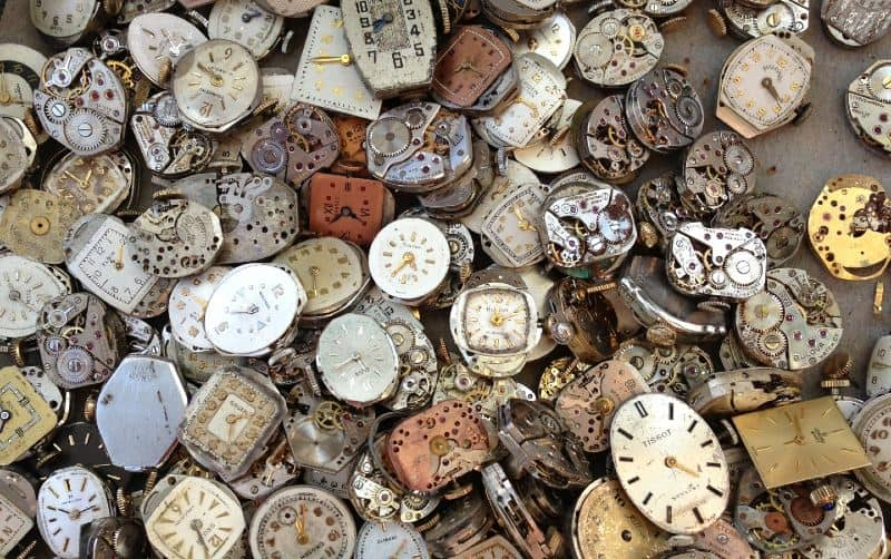 Vintage brown and white watch lot