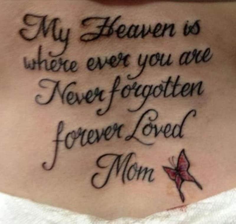 'Never forgotten, forever loved' tattoo inked