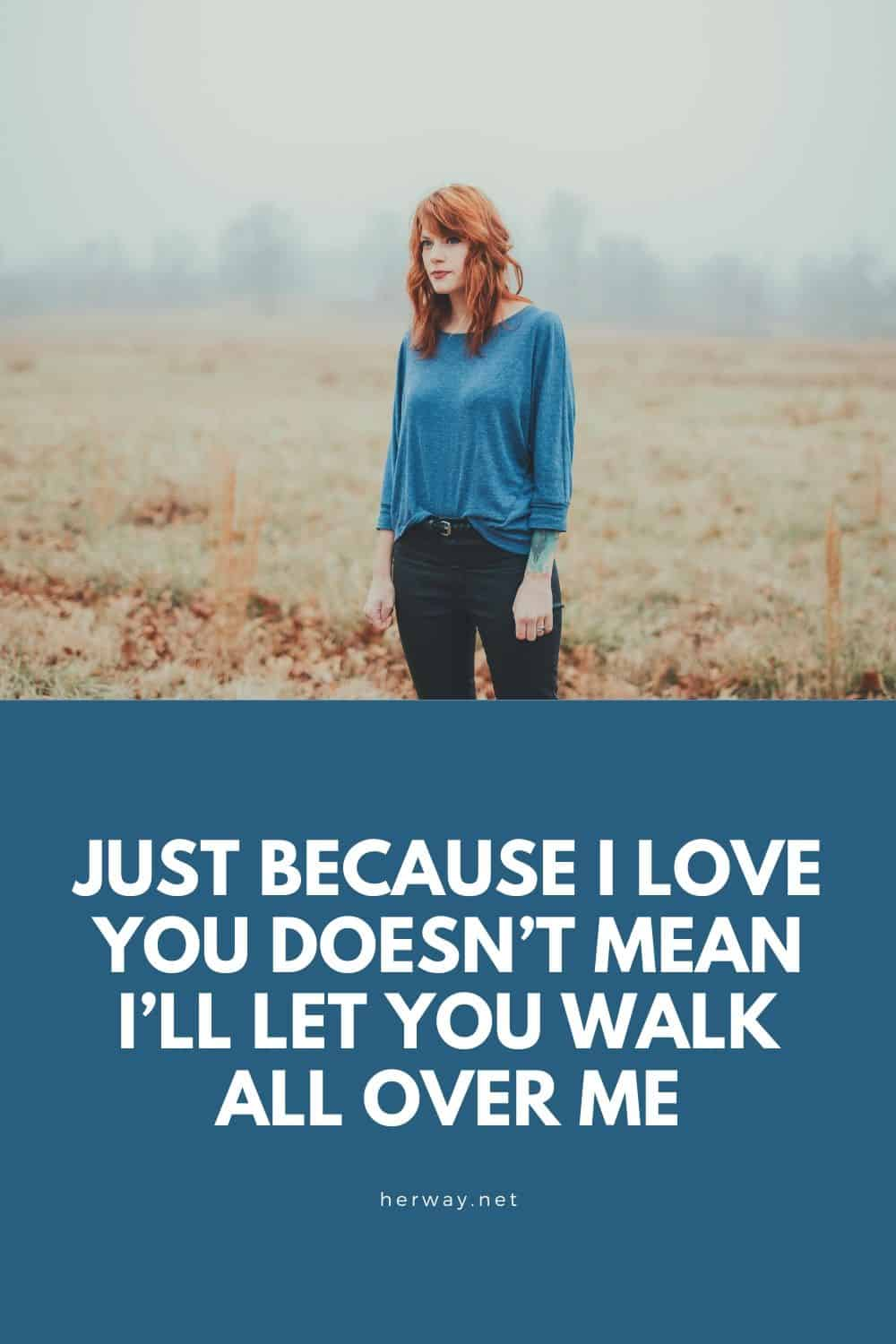 Just Because I Love You Doesn't Mean I'll Let You Walk All Over Me