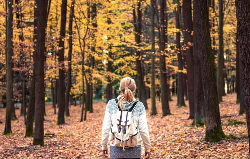 woman with backpack hiking thru the woods during autumn season