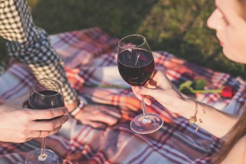 man and woman drinking wine while sitting on blanket