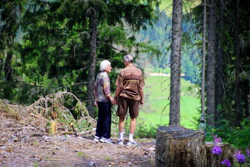 man and woman holding hands while standing in forest