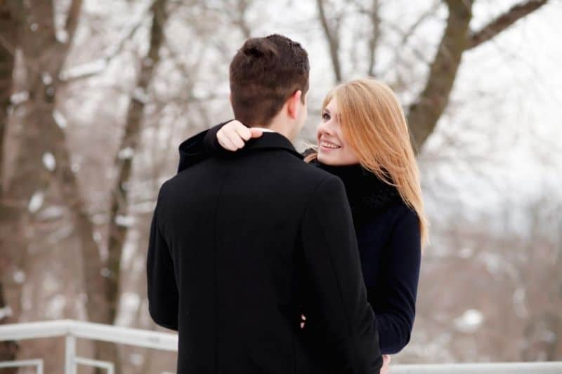 couple in love outdoors during winter