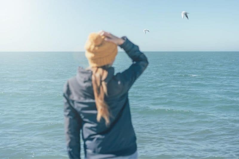 defocused figure of a woman's rear facing the sea and brirds flying