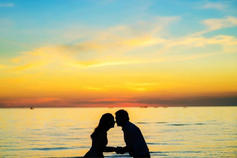 silhouette of a couple nose to nose and holding hands by the beach during sunset