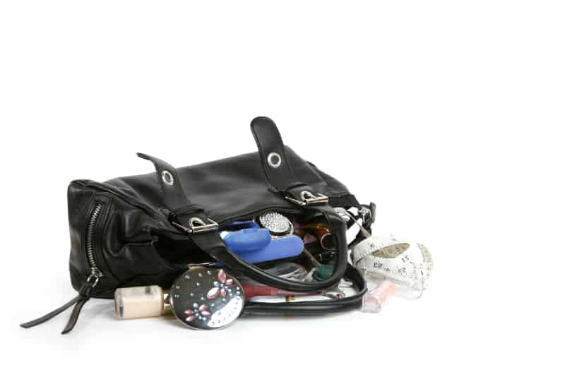 woman's black handbag with all content