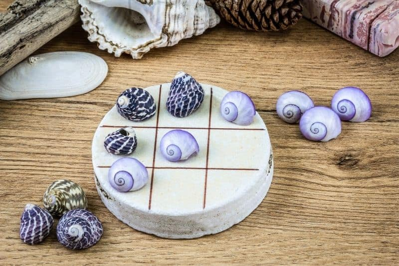 authentic game homemade with shells and stones as gift