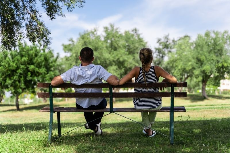 rear view of a couple sitting on the bench of the park