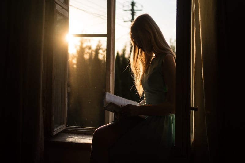 woman reading book while sitting on window pane
