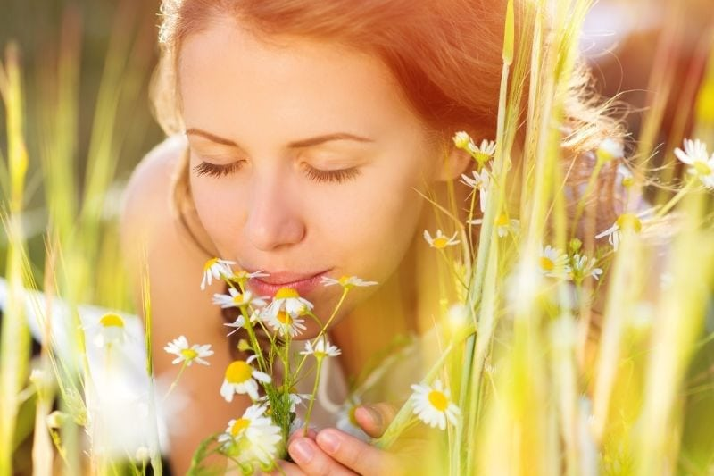 woman smelling daffodils on the field while lying down face in focus