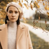 portrait of woman outside during autumn