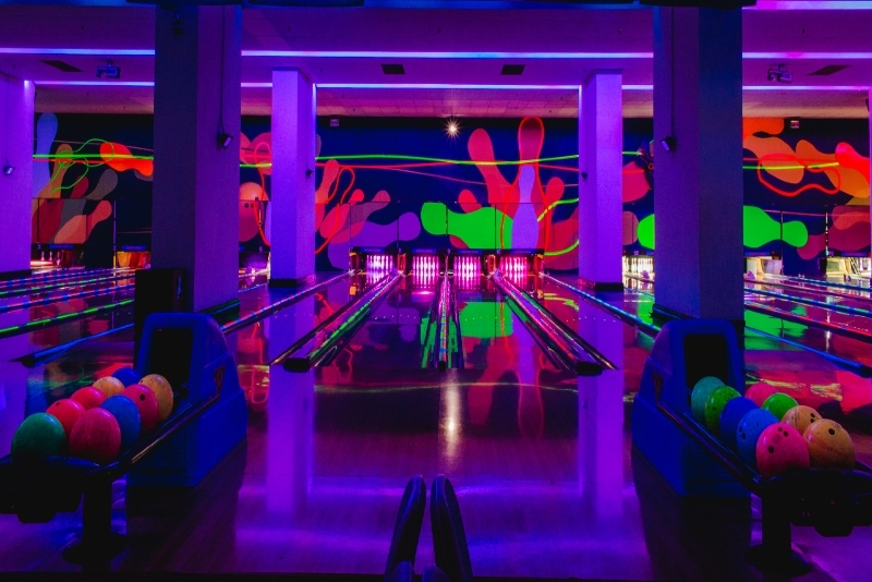 glowing in the dark bowling alley
