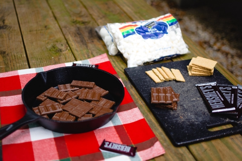 chocolate in skillet on wooden table