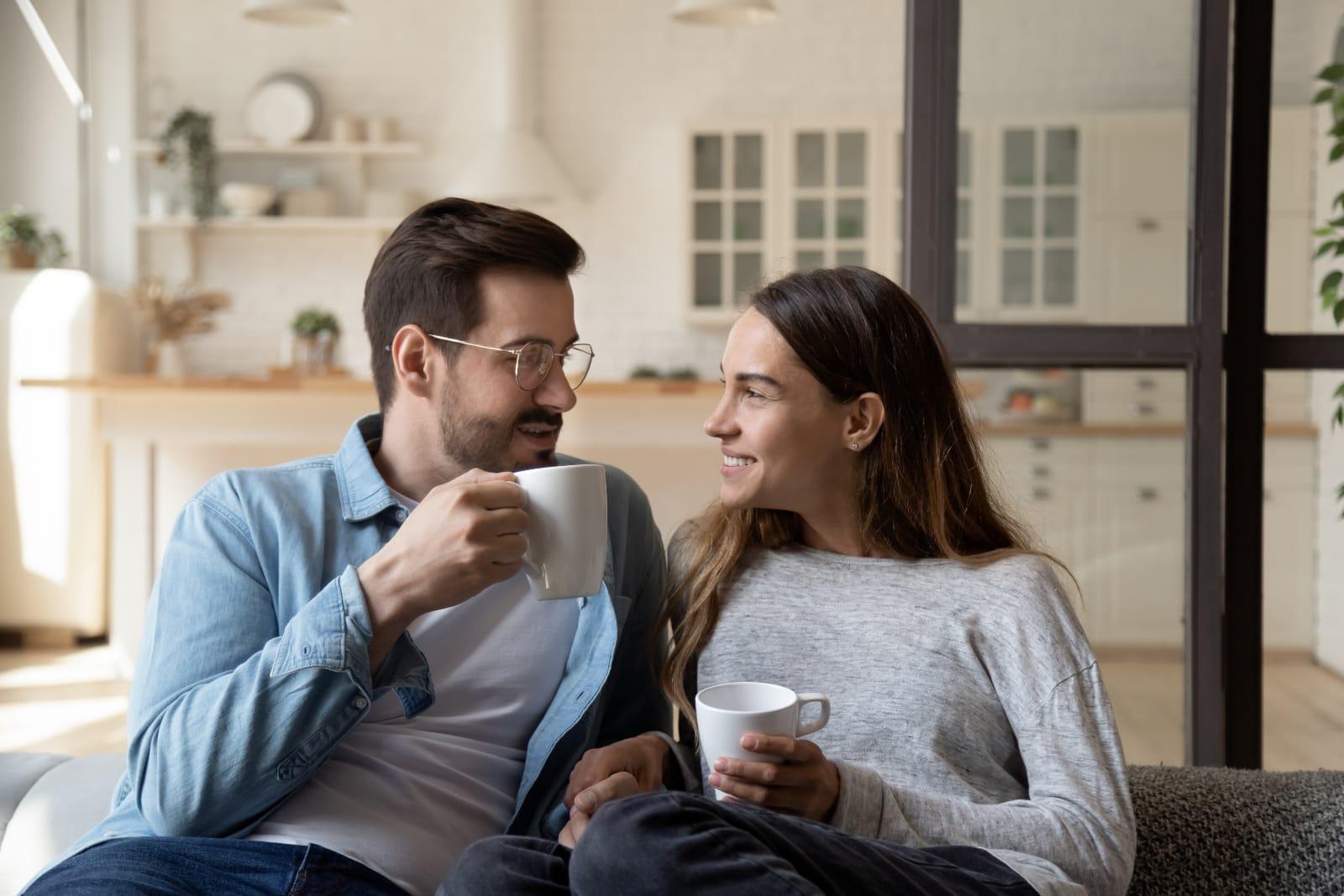 couple enjoying cozy home