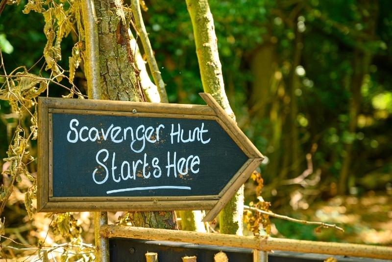 scavenger hunt sign standing near tree