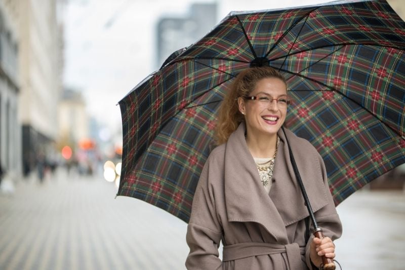smiling woman with umbrella walking down the street wearing long trench coat