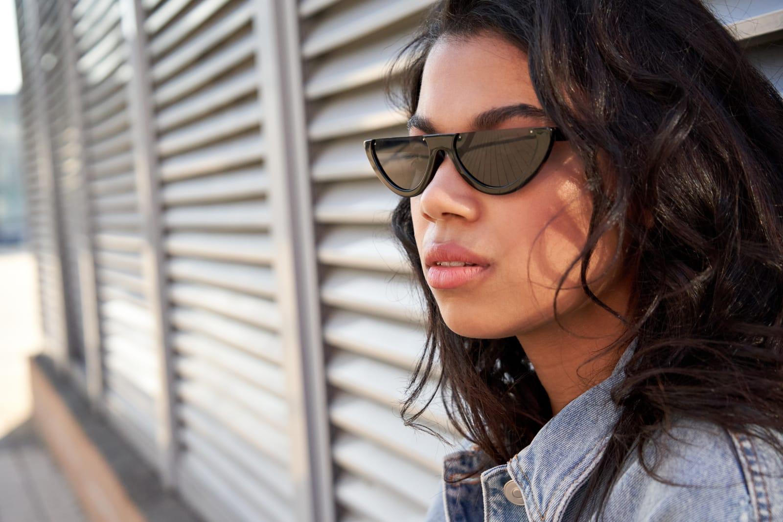 woman wearing stylish sunglasses