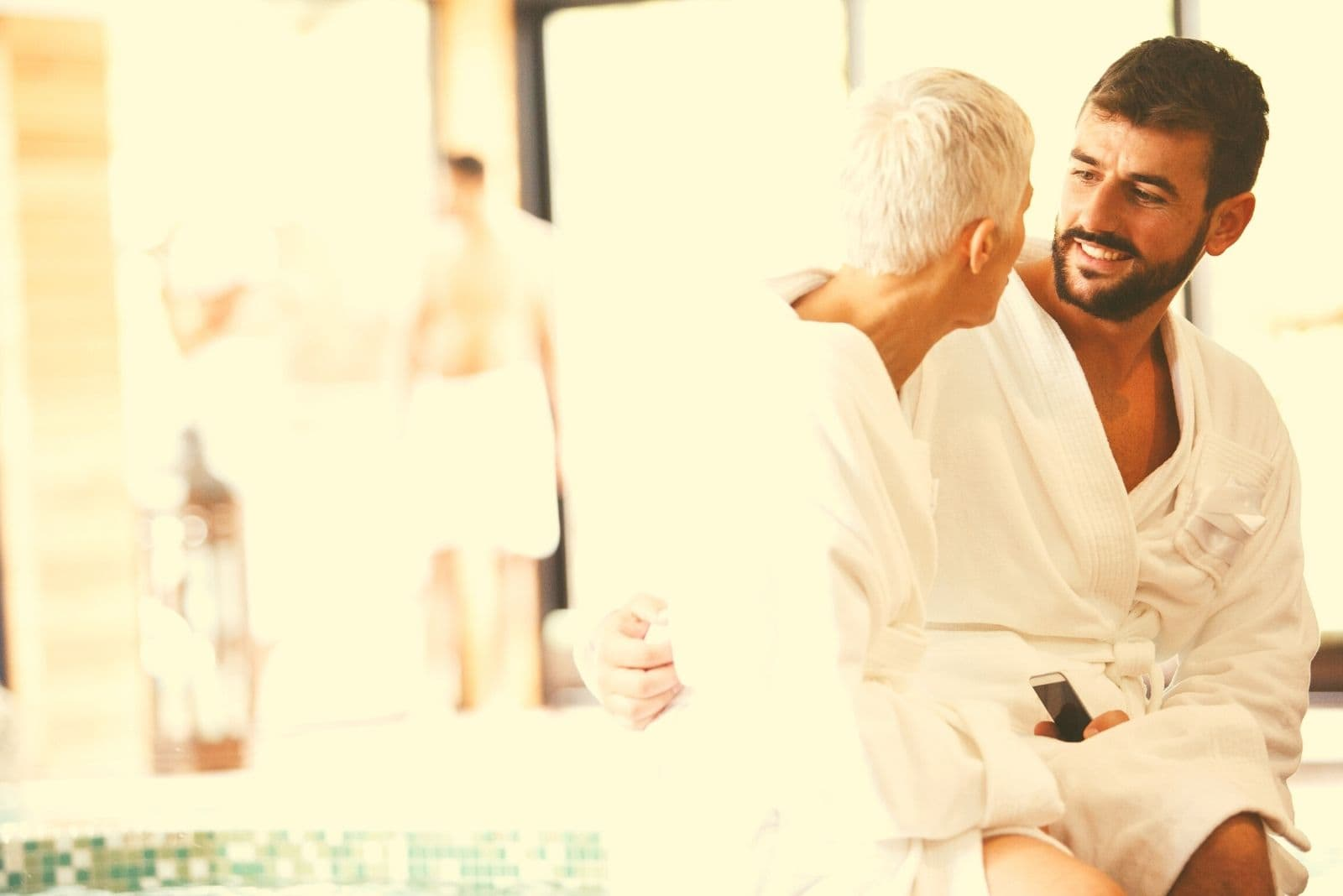 couple with big age gap having romantic weekend at the spa