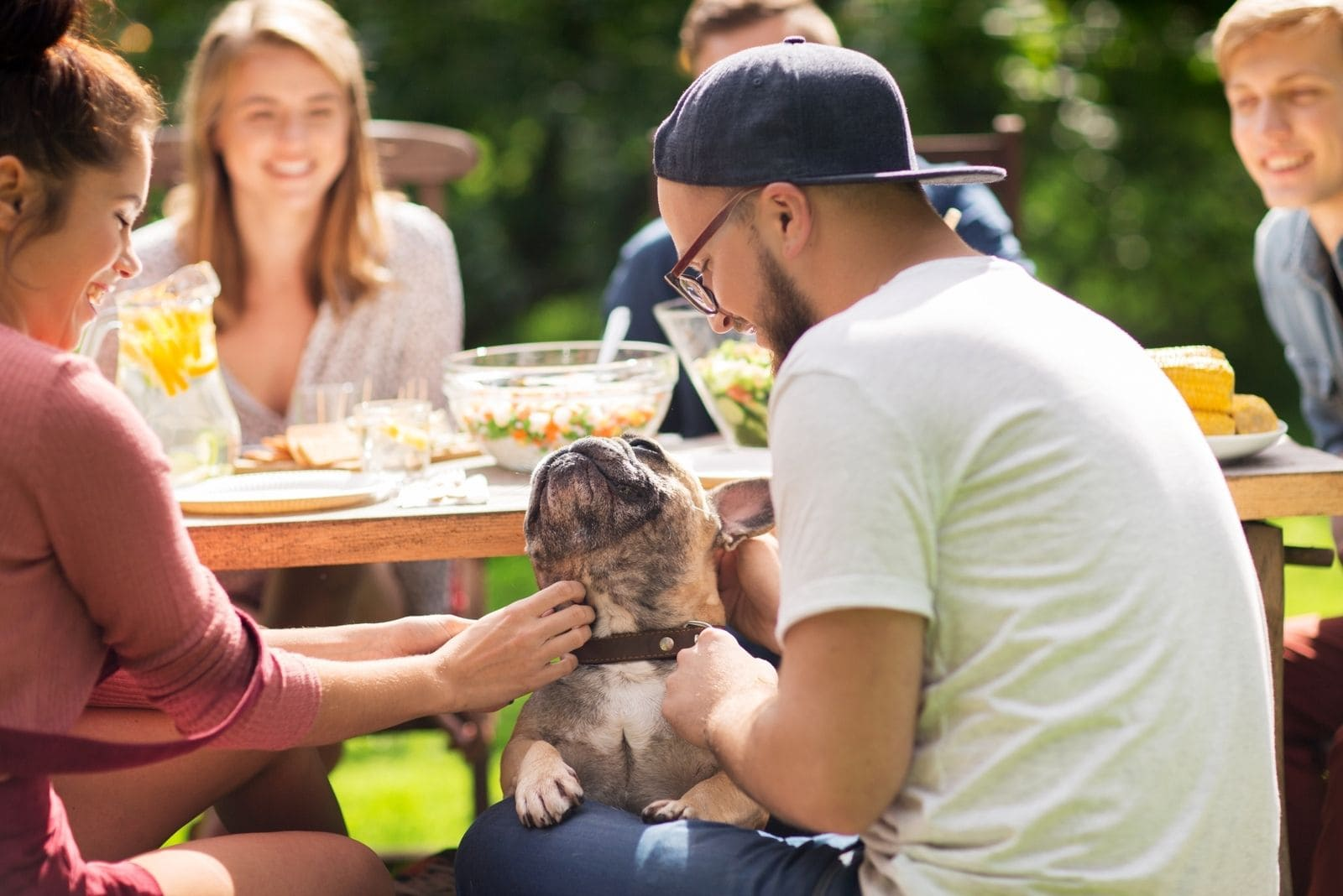 leisure holiday celebration of friends and family eating outdoors and playing with dog