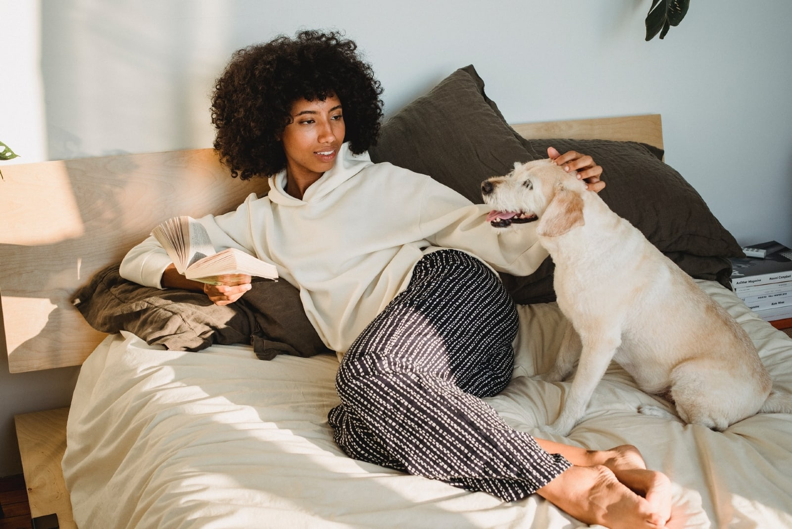 woman holding book while sitting on bed beside dog