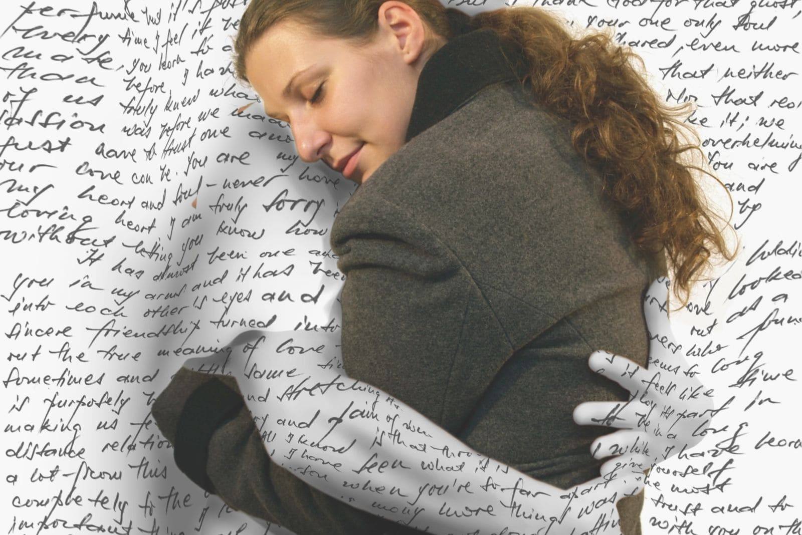 image of love letter embracing the woman with love